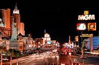 View of the Strip toward the the north: New York, MGM Grand, Paris, Aladdin, and Caesar's Palace casinos, Las Vegas Boulevard, Las Vegas, Nevada, USA,...