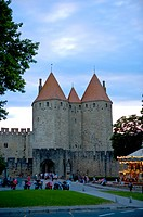 France, Languedoc, Carcassonne, Castle walls