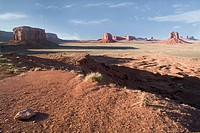 Wide angle view of buttes in monument valley on the border of Arizona and Utah