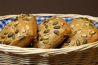 Pumpkin seed buns (pumpkinseed rolls) in a basket