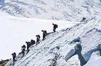 Mountain climbers descending Col du Midi (Midi Pass), Mt. Aiguille du Midi, Mont Blanc Massif, Chamonix, France