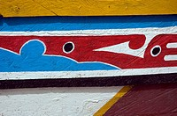 Close_up of traditional painted fishing boat, Tanji, The Gambia