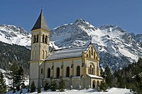 Church in Sulden in front of the Ortler Alps, Bolzano-Bozen, Italy
