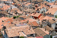 An aerial urban landscape view of the rooftops in the town of Rovinj,Croatia, showing the crowded conditions Seen from the top of the Cathedral of St ...
