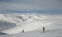 Skiers on top of mountain at Glenshee, Cairngorm National Park, Scotland