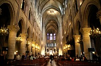 Interior, Notre Dame Cathedral, Paris, France