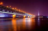 China, Hubei Province, Wuhan, Wuchang, Wuhan Yangtze River Bridge, Nightlife (thumbnail)