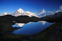 Wetterhorn, 3704 m, Schreckhorn, 4078 m, Finsteraarhorn, 4274m, reflection on the Bachalpsee , Switzerland, Bernese Oberland, Grindelwald, First