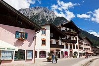 Shopping street in Mittenwald with Karwendel Mountains in the Bavarian Alps, Germany, Europe