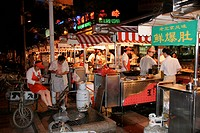 Night market in Donghuamen street after dark, Beijing, China