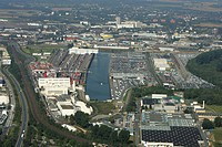 Neusser_Duesseldorfer inland port with car terminal and container terminal, Neuss, Nord Rhine_Westfalia, Germany
