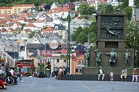 Torgallmenningen pedestrian zone with memorial, Bergen, Hordaland, Norway