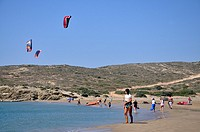 Learning kite-surfing at Prasonisi, Rhodes island, Greece