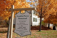 Franklin Pierce Homestead during the autumn months in Hillsborough, New Hampshire USA which is part of scenic New England  The homestead was built in ...