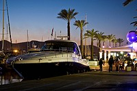Yacht in the marina of Eivissa, Ibiza, Baleares, Spain