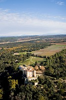 Aerial view of Castle Chateau Rousset in autumn, South France, Europe