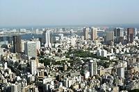 View from Roppongi Hills Mori Tower, Tokyo-City-View, districts Shibaura, Shinagawa and Odaiba, Tokyo, Japan