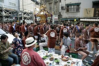 Japan, Tokyo: Shrine festival, called Matsuri. The Shinto shrines are carried through the streets of the Shinto temple district, religious festival
