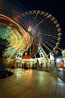 Giant wheel and carousel by night, funfair, Waldkraiburger Dult, Waldkraiburg, Upper Bavaria, Bavaria, Germany