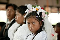 Bride with flower girl, Indian wedding, Loma Plata, Chaco, Paraguay, South America