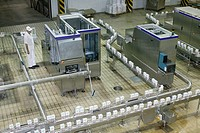 Modern packaging line in a dairy, milk in tetra pak, Loma Plata, Chaco, Paraguay, South America
