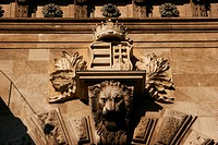 Lion, Hungarian crown and coat of arms at the chain bridge, Budapest, Hungary, Europe