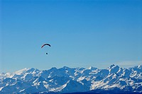 Paraglider above snow covered mountains in front of blue sky, South Tyrol, Italy, Europe
