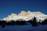 Mountain landscape in Winter, Karerpass, Rosengarten Group, Eggental valley, South Tyrol, Italy