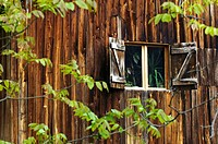 Wooden facade of a farmhouse, Prackfolerhof, Voels am Schlern, South Tyrol, Italy