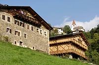 Farmhouse with hay barn, Voelser Aicha, Oachner trails, Voels am Schlern, Fie allo Sciliar, South Tyrol, Italy