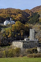 Marienberg abbey and castle Fuerstenburg at a mountain side, Val Venosta, South Tyrol, Italy, Europe