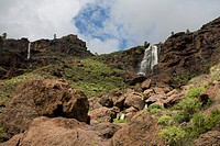 Waterfall under clouded sky, Los Azulejos, Barranco de Veneguera, Natural Preserve, Gran Canaria, Canary Islands, Spain, Europe