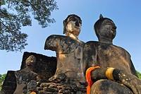 Sitting Buddhas at Wat Phra Si Rattana Mahatat, Si Satchanalai Chalieng Historical Park, Province Sukothai, Thailand, Asia