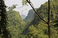 Cable car on green Huong Tich mountain at the Ninh Binh Province, Vietnam, Asia