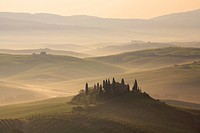 typical hilly landscape of the Tuscany with grain fields, cypresses and house in morning mist, Italy, Tuscany