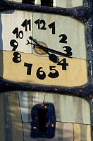 Clock on Church St. Barbara from Friedensreich Hundertwasser, Baernbach, Styria, Austria