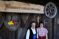 Farmer and farmers wife in the Local history museum in Tschoetscherhof, St. Oswald, Kastelruth, Castelrotto, South Tyrol, Italy