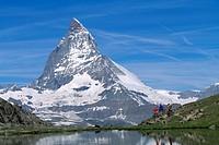 Riffel lake, Matterhorn, Zermatt, Wallis, Switzerland