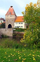 traditional bridge at the town entrance of Herrieden, Germany, Bavaria, Middle Franconia, Mittelfranken