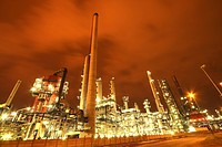 Lightened petrochemical industry in Antwerp harbour at night, Belgium