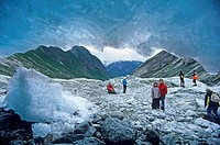 Tourists at the Nigardsbreen Glacier, Sogn og Fjordane, Norway