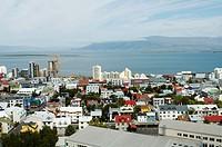 Iceland, Reykjavik old city streets aerials.