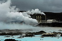 Iceland, Near Reykjavik, blue Lagoon, geothermal power station, thermal baths, spa.
