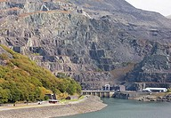 Llyn Peris and former Dinorwig slate mine, Llanberis, North Wales