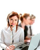 Business helpdesk with beautiful woman and headphones micro