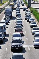 Cars in traffic jam on motorway during the summer holidays, Belgium