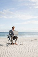 Businessman working at desk on the beach