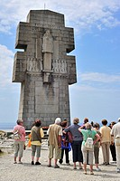 Tourists visiting the Monument to the Bretons of Free France / Cross of Pen_Hir, inaugurated by General Charles de Gaulle in 1960, Pointe de Pen_Hir, ...