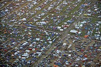 More than 50000 raver are camping near a techno-party near Kastellaun , Rhineland-Palatinate, Germany