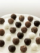 Tray of chocolate truffles
